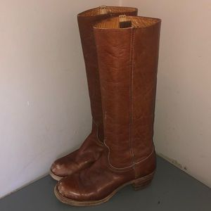 Frye vintage tall campus boots sz 8 brown leather